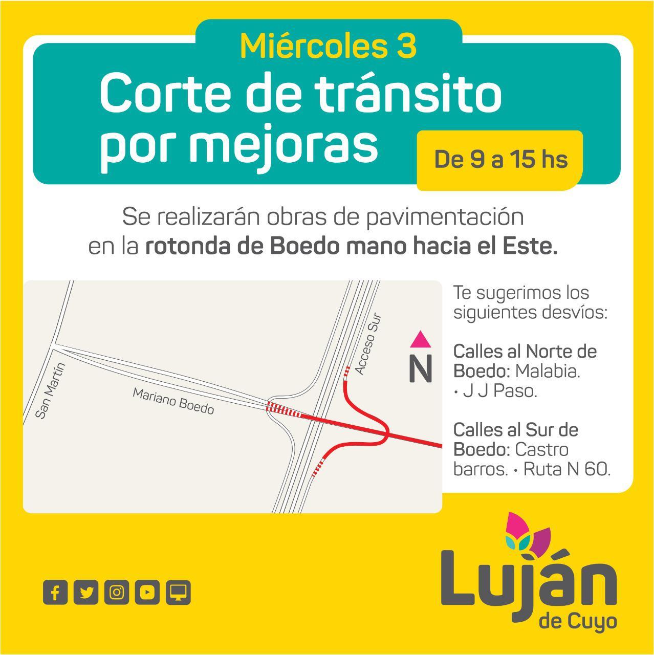 Corte de Transito por Obra sobre Calle Boedo y Acceso Sur